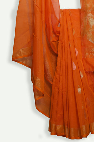 Orange handwoven jamdani saree - EARTHICA