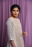 Off white Maheshwari straight kurta with pants - EARTHICA