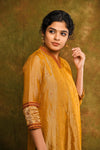 Honey gold tissue chanderi straight kurta with maroon pants - EARTHICA