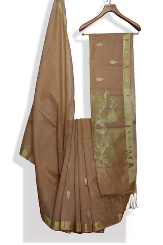 Brown handwoven jamdani saree - EARTHICA