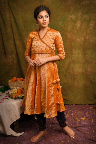 Metallic orange zari tissue chanderi flared kurta with pants - EARTHICA