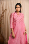 Bubblegum pink maheshwari flared kurta with pants - EARTHICA