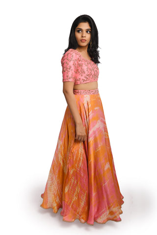 Peach Raw Silk Blouse and Modal Skirt - EARTHICA