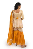 Beige Modal top with Mustard Yellow Chanderi Sharara - EARTHICA