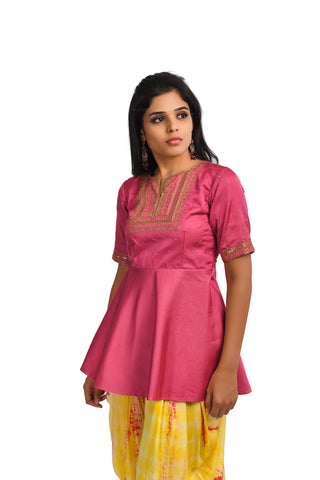 Pink Modal Peplum Top and Yellow Dhoti Pant - EARTHICA