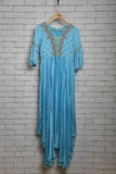 Sky blue modal gathered dress with embroidery - EARTHICA