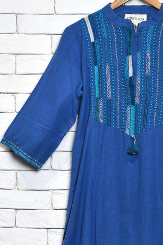 Dark blue cotton khadi kurta - EARTHICA