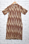 Camel brown ikat shirt dress - EARTHICA