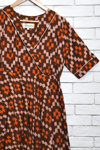 Brown cotton double ikat dress - EARTHICA
