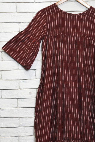 Maroon cotton ikat ruffled dress/ tunic - EARTHICA