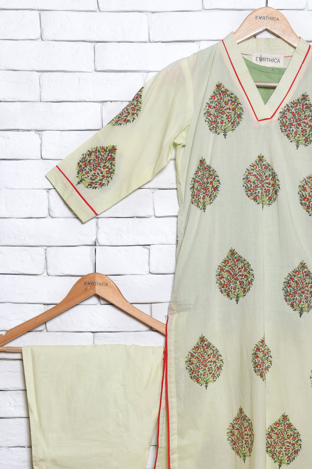 Pista green hand block printed kurta set - EARTHICA