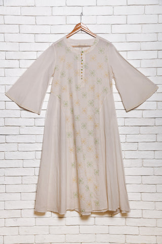 White cotton anarkali - EARTHICA
