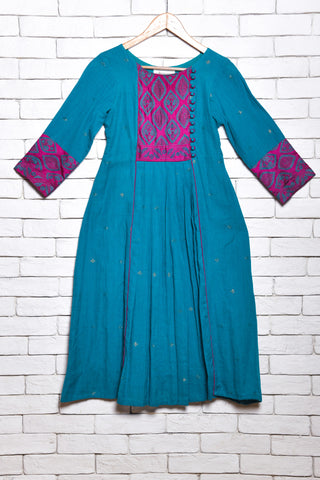 Teal blue Jamdani cotton kurta/dress with kanta embroidery - EARTHICA