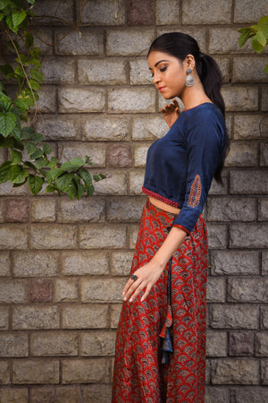 Blue Modal embroidered crop top - EARTHICA