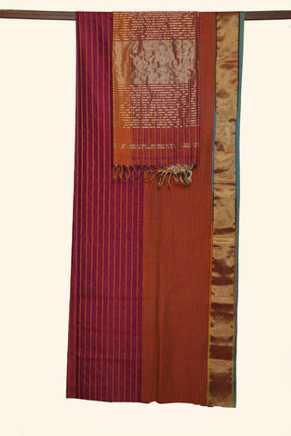 Red Striped Maheshwari Saree