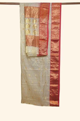 Beige tissue chanderi saree - EARTHICA