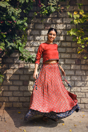 Ajrakh print layered skirt
