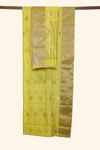 Yellow chanderi saree - EARTHICA