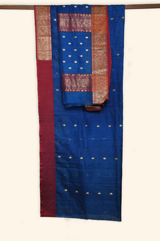 Dark blue handwoven chanderi saree - EARTHICA
