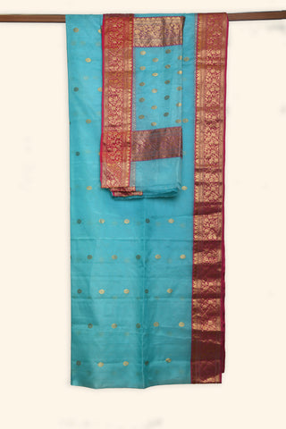 Sea blue chanderi saree - EARTHICA