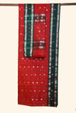 Red Chanderi Saree with Green Border