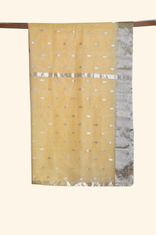 Pale yellow chanderi saree with silver border - EARTHICA