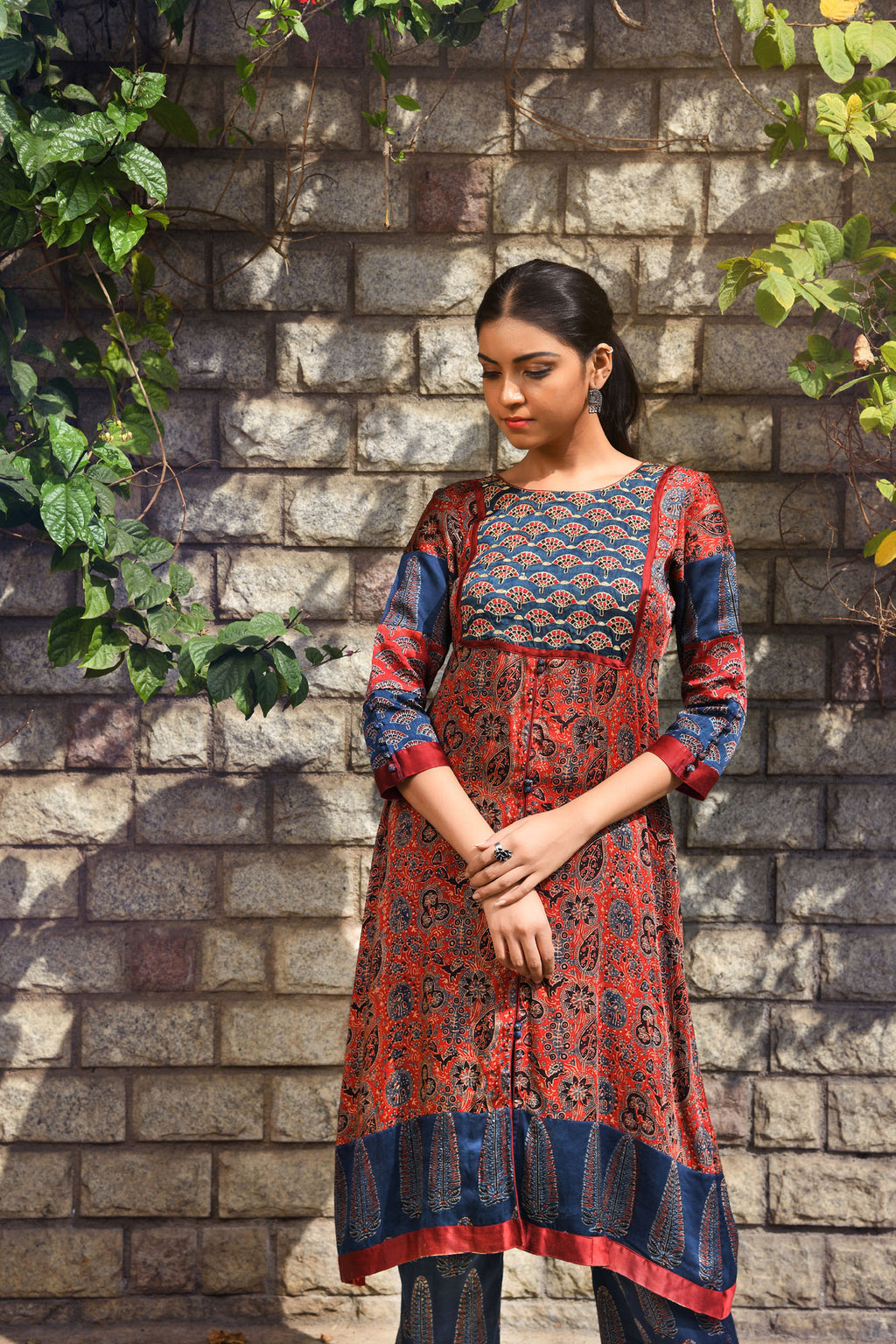 Barn red ajrakh printed modal flared kurta with embroidered yoke