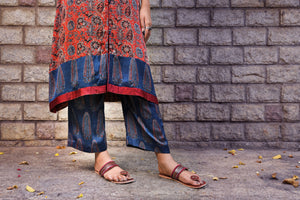 Blue Ajrakh printed modal pant - EARTHICA