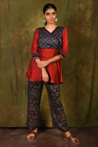 Midnight blue ajrakh printed wrap yoke on barn red modal short top - EARTHICA