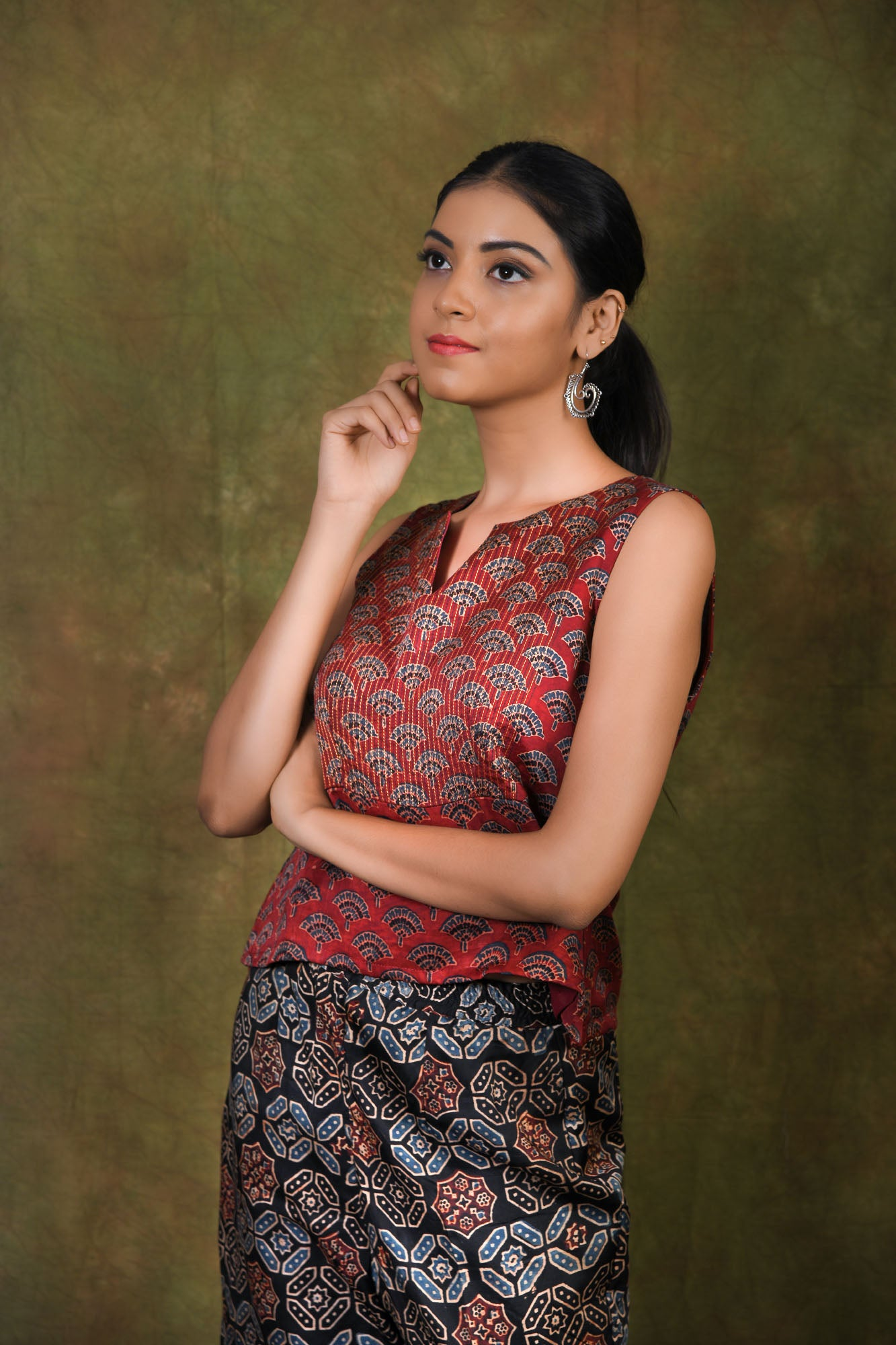 Sleeveless Ajrakh printed red modal top