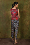 Barn red ajrakh printed modal sleeveless top - EARTHICA