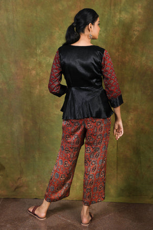Barn red ajrakh printed modal pants - EARTHICA