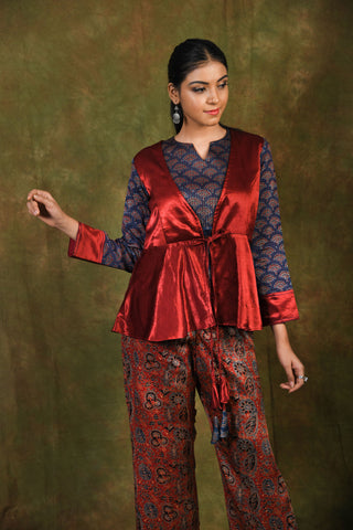 Midnight blue ajrakh top with meroon mashru jacket - EARTHICA