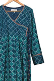 Sanganer block printed angrakha dress - EARTHICA