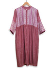 Onion pink jamdani gathered kurta with kantha embroidered yoke - EARTHICA