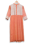 Cantaloupe orange jamdani dress with kantha yoke - EARTHICA