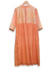 Cantaloupe orange gathered dress with kantha embroidered yoke - EARTHICA