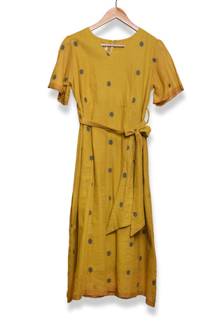 Mustard yellow jamdani dress with belt - EARTHICA