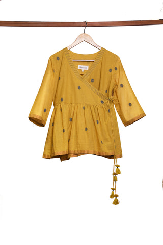 Mustard yellow angrakha short top - EARTHICA
