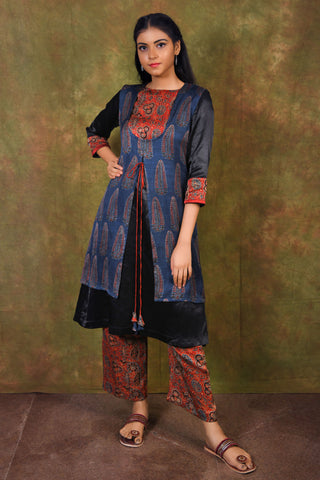 Black mushroo kurta with blue Ajrakh print modal jacket - EARTHICA
