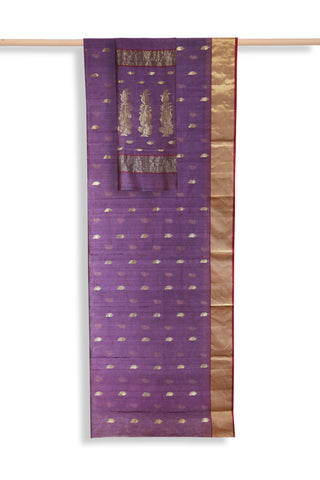 Purple handwoven chanderi saree - EARTHICA