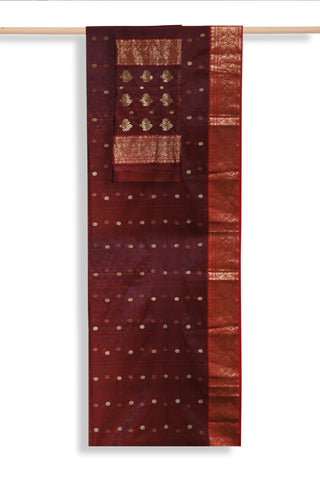 Maroon Handwoven chanderi saree - EARTHICA