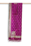 Pink handwoven banarasi brocade silk saree - EARTHICA