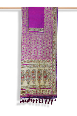 Purple banaras brocade silk saree - EARTHICA