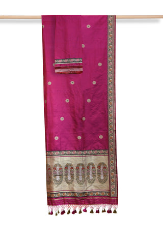 Pink banaras brocade silk saree - EARTHICA