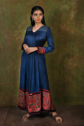 Blue Modal Anarkali with embroidered yoke and block printed border