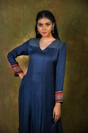 Midnight blue modal anarkali with embroidered yoke and rust ajrakh printed border - EARTHICA