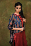 Barn red mashru tunic with embroidered jacket - EARTHICA