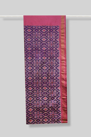 Purple & Pink  Handwoven Ikat Saree.