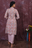 Peach and pink floral block printed flared kurta with pants - EARTHICA
